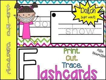 Print.Cut.Trace. Third Grade Dolch Flashcards