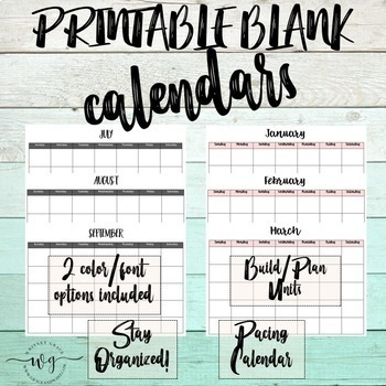 Printable 12 Month Blank Calendars