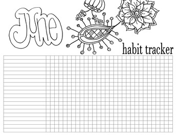 Printable 12 Month Floral Themed Habit Tracker Pages