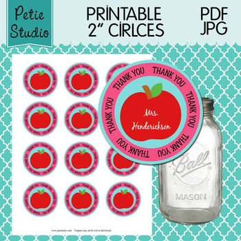 Printable 2 Inch Circles Thank You Apple Editable PDF - Labels 106 {Pink}