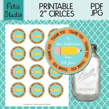 Printable 2 Inch Circles Thank You Pencil Editable PDF - Labels 106 {Orange}