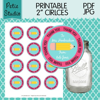 Printable 2 Inch Circles Thank You Pencil Editable PDF - Labels 106 {Pink}