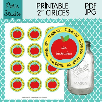 Printable 2 Inch Circles Thank You Apple Editable PDF - Labels 106 {Yellow}