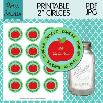 Printable 2 Inch Circles Thank You Apple Editable PDF - Labels 106 {Green}