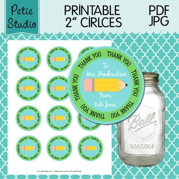 Printable 2 Inch Circles Thank You Pencil Editable PDF - Labels 106 {Green}
