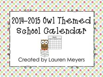 Printable 2014-2015 Owl Themed Calendar