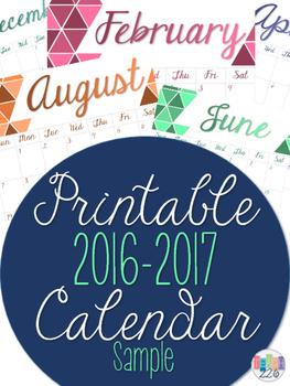 Printable 2016-2017 Ombre Calendar Sample