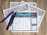 Printable 2017 Calendar Coloring Pages (including goals and tasks lists)