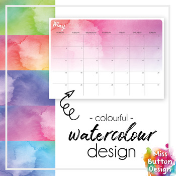 Printable 2019 Calendar - Monthly - Blank - Watercolour ...