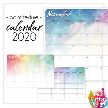 Printable 2019 Calendar - Monthly - New South Wales NSW - Paint Texture Design