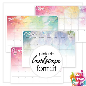 Printable 2019 Calendar - Monthly - Queensland QLD - Paint Texture Design