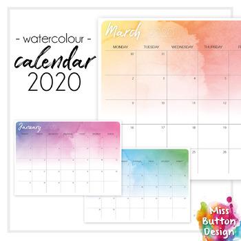 Printable 2019 Calendar Monthly Queensland Qld Watercolour Design