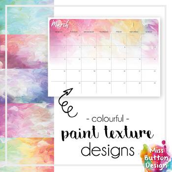 Printable 2019 Monthly Calendar - Australian Capital ACT - Paint Texture Design