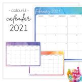 Printable 2021 Australian Monthly Calendar - Colourful Wat