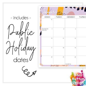 Printable 2022 Monthly Calendar Colourful Memphis Design Sa Tpt