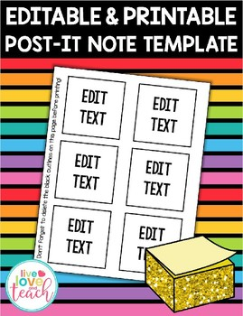 photograph about Editable Post It Note Template titled Printable 3-Inch Write-up-It Take note Template - EDITABLE FREEBIE