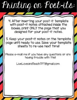 printable 3 inch post it note template editable freebie tpt