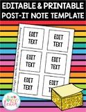 Printable 3-Inch Post-It Note Template - EDITABLE FREEBIE
