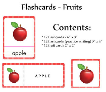 Printable 36 Flashcards - Fruits