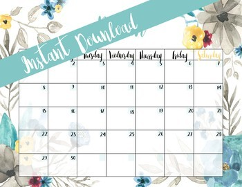 CALENDAR BUNDLE - FIVE Printable Monthly Calendars - floral themed
