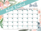 5 printable monthly calendars - floral themed