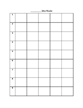 Printable 9 Week Calendar for Lesson Planning or General Use