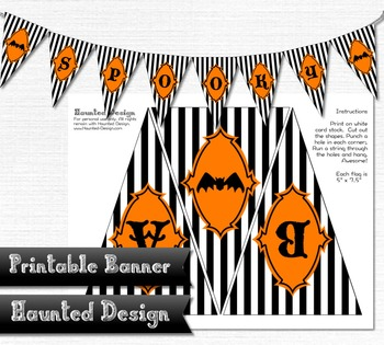 Printable A-Z Halloween Striped Banner 48 total flags for banner
