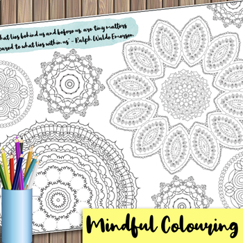 Giant Mandala Colouring Page 1 with Mindful Quote