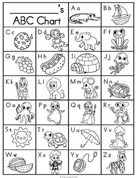 Printable ABC Chart- Color, Black & White, & Blank Copy