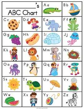 photo relating to Printable Abc identified as ABC Chart Printable- Shade, Black White, Blank Reproduction