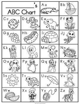 image regarding Printable Alphabet Chart Black and White named ABC Chart Printable- Coloration, Black White, Blank Reproduction