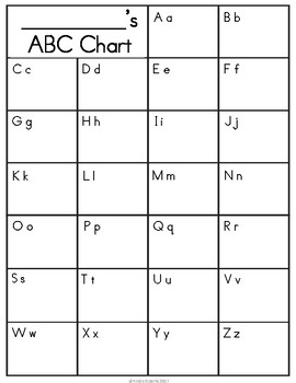 picture relating to Blank Color Chart Printable named ABC Chart Printable- Shade, Black White, Blank Replica