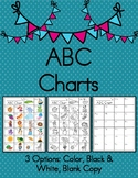 ABC Chart Printable- Color, Black & White, & Blank Copy