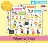 Printable ADJECTIVES Bingo /  Lotería Adjetivos en INGLES para imprimir