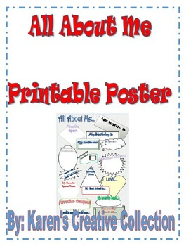Printable ALL About ME  Poster (8.5 X 11)