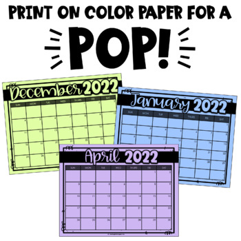 Printable AND Digital Calendars (PowerPoint or Google Classroom)