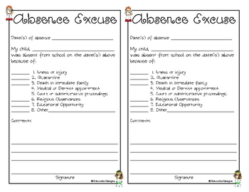 Printable Absence Excuses
