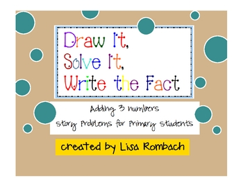 Printable Add 3 Numbers Math Story Problems for Primary Students