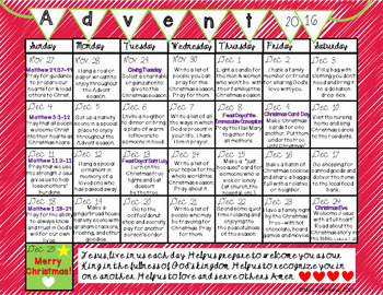 Printable 2016 Advent Calendars (Red, Green, & Red Chevron)