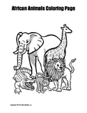 Printable African Animals Coloring Page Worksheet