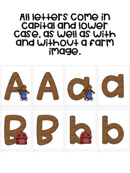 Printable Alphabet Letters - Farm Theme - A-Z - with and without graphics