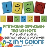 Printable Alphabet Letters - Lego Tiles - A-Z four colors
