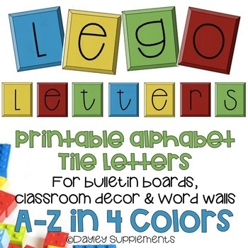 photograph regarding Colorful Alphabet Letters Printable titled Printable Alphabet Letters - Lego Tiles - A-Z 4 colours
