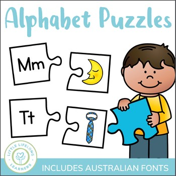 Alphabet Two-Part Puzzles for Back to School - ELEMENTARY