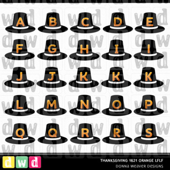 Printable Alphabet THANKSGIVING 1621 ORANGE LFLF Letters Numbers Clip Art