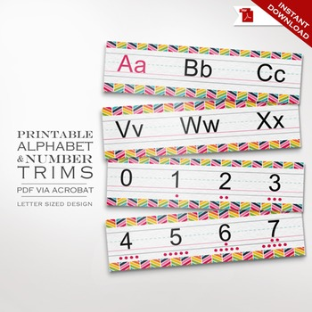 Printable Alphabet and Number Trim Strips or Handwriting W