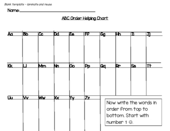 Printable Alphabetical Order Helping Chart (Includes Blank Template)