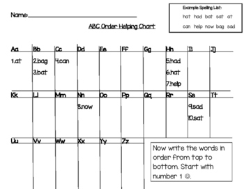 Printable Alphabetical Order Helping Chart (Includes Blank