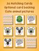 Preschool Matching Game - Animal Match Up Cards