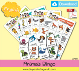 Printable Animals Bingo / Lotería Animales en INGLES para